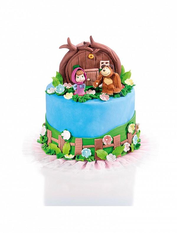 Figure za torto na torti Maša in medo